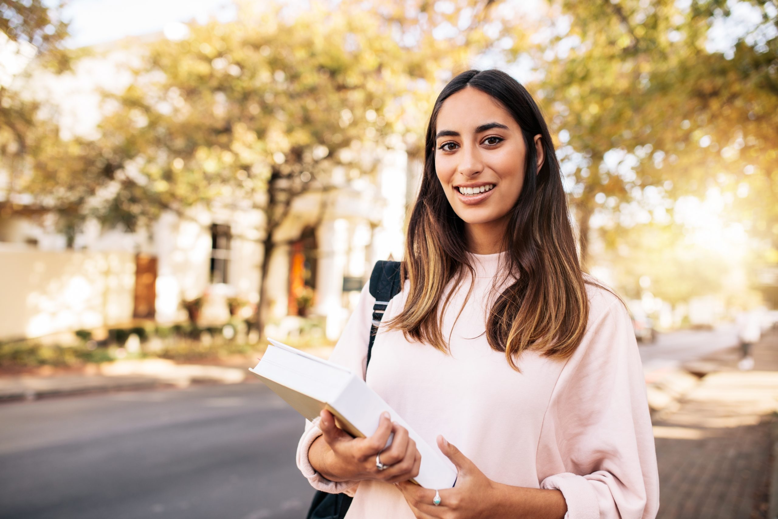 Healthy woman outside smiling